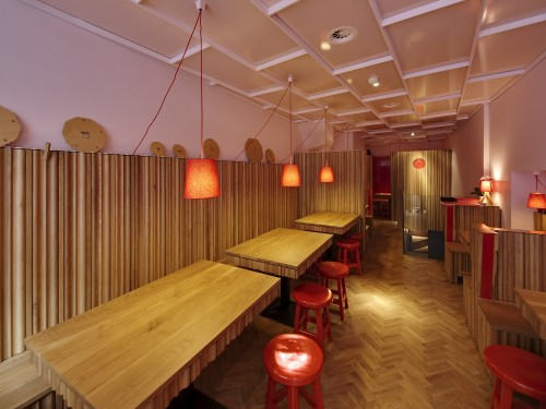 Pink Red Oak Cladding Combination Inviting Restaurant